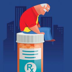 illustration of senior man sitting atop a large prescription bottle