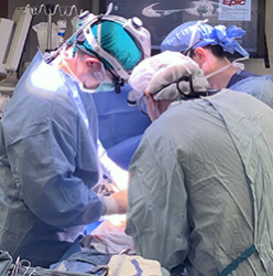 picture of surgeons performing liver transplantation at the University of Washington Medical Center in Seattle.