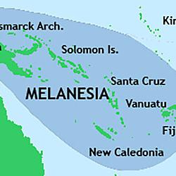 map of the Melanesia area settled around New Guinea