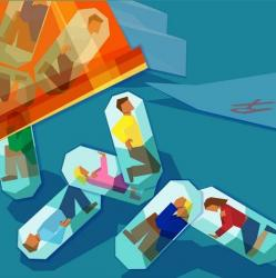 illustration of people inside of pill vials