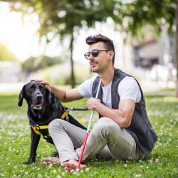 Young with low vision and sightseeing dog sitting on the grass.