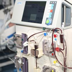 Hemodialysis machine in an intensive care unit