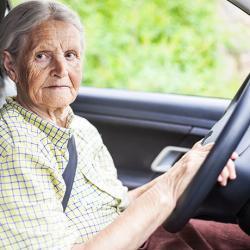 a senior citizen sitting behind the wheel of a car