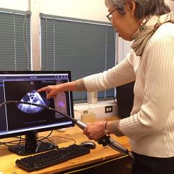 Florence Sheehan shows structural heart ultrasound images displayed by the TEE simulator.