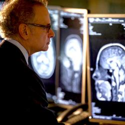 Dr. Stanley Herring looks at brain scans