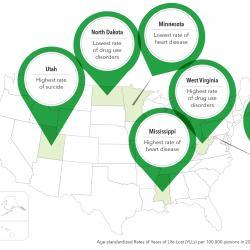 depiction of U.S. map highlighting dangerous health disparities