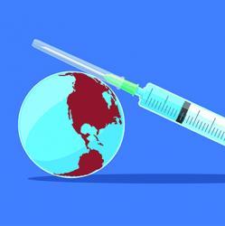 illustation of a syringe sitting atop a globe