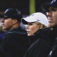 Dr. Kim Harmon on the sidelines