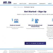 All of Us program website screen grab