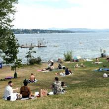 People hanging out near Lake Washington