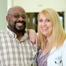 Paul Carter with Andrea Gahl, trauma nurse coordinator at Harborview