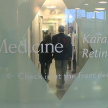 Angie Karalis Johnson and Russ Van Gelder tour the Karalis Johnson Retina Center