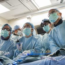 Doctors performing TAVR