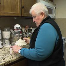 Mary Wimer making tea