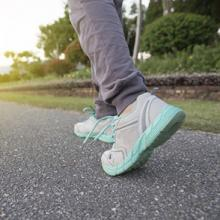 close up of feet in running shoes