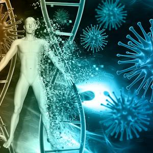 illustration of a human body with DNA helix and virus molecules